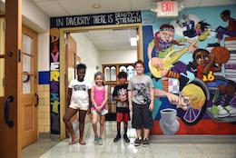 Clark students with their mural
