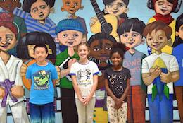 Edgar Road students with their mural