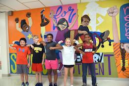 Steger students with their mural